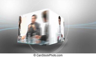 montage, van, zakenlui, werkende