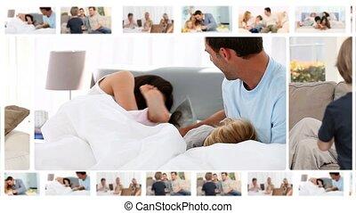 montage, verschillen, het genieten van, families