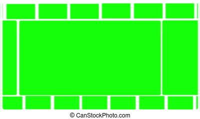 montage, vert, écrans