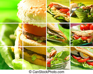 montage, voedingsmiddelen, snack