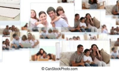 montage, von, familien, ausgabe, zeit