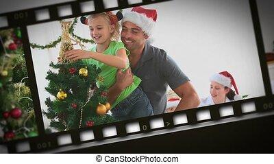 montage, von, familien, während, weihnachtstag