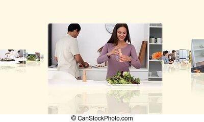 montage, von, kochen, familien
