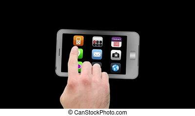 montage, von, video, rufen, telefon