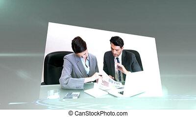 montage, werken, zakenlui