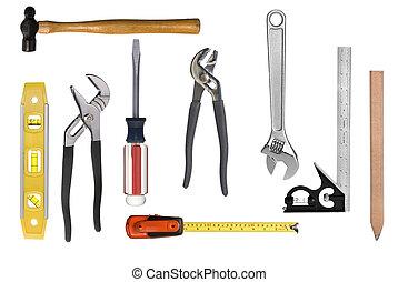montage, werkzeug, zimmerhandwerk