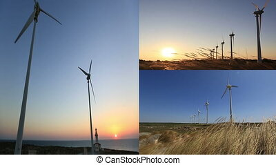 montage wind turbines generating clean power