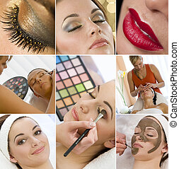 Montage of young beautiful women girls, relaxing at a health spa having make up and face treatments applied.
