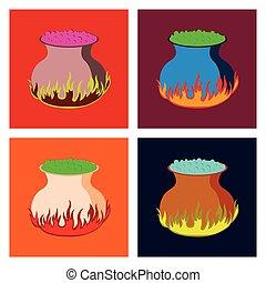 montagem, apartamento, ilustração, poção, cauldron