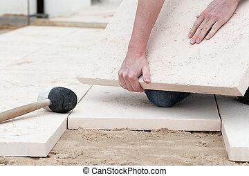 montagem, chão