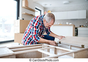 montagem, concept., repouso novo, sênior, mobília, lar, homem