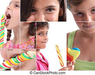 montagem, crianças,  lollipops