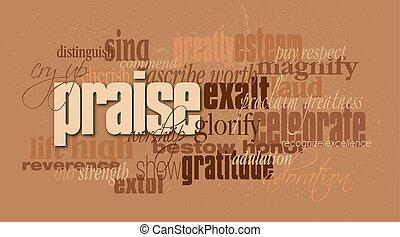 montagem, cristão, palavra, elogio