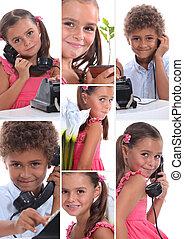 montagem, de, dois, filhos jovens, com, telefone