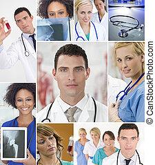 montagem, de, equipe médica, enfermeiras, &, doutor
