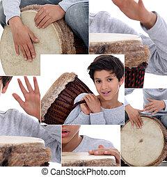 montagem, de, menino, com, africano, tambor