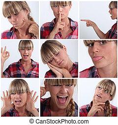 montagem, de, mulher, puxando, um, variedade, de, expressões...