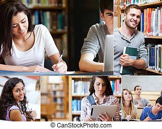 montagem, de, quadros, mostrando, vário, estudantes