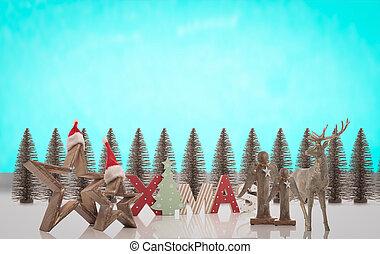 montagem, decoração, imagem, natal