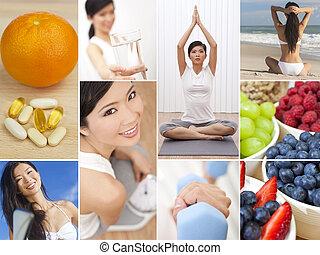 montagem, fêmea oriental, mulher, estilo vida saudável
