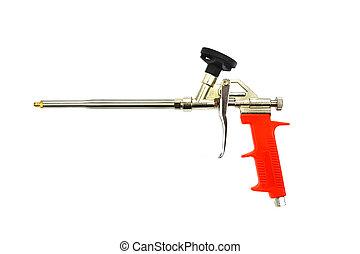 montagem, ferramenta, espuma, arma, isolado, pulverizador, novo, branca, pistola