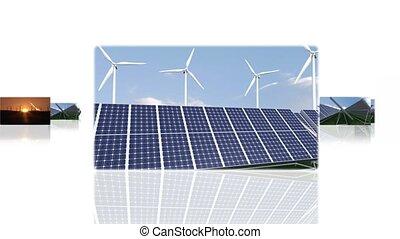 montagem, ilustrar, a, verde, energias, e, a, meio ambiente,...