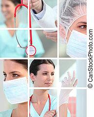 montagem, médico