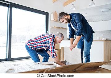montagem, mobília, concept., pai, seu, maduras, repouso novo, homem sênior