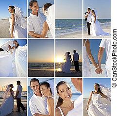 montagem, par, praia, romanticos, casório