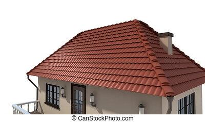 montagem, solar, painéis, ligado, a, telhado