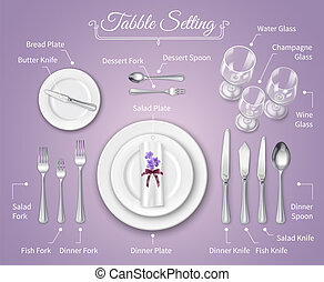 montaggio cena formale, posto, infographics