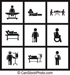 montaggio, icone, pazienti, nero, elegante, salute, bianco, cura