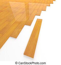 montaggio, pavimento, legno pino, tegolato, 3d