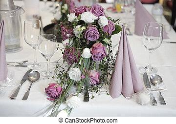 montaggio tavola, con, fiori