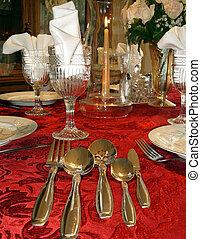 montaggio tavola, elegante, e, formale