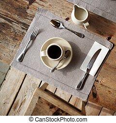 montaggio tavola, in, cafe.