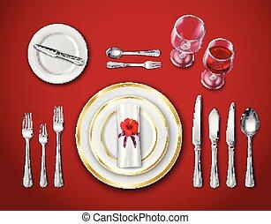 montaggio tavola, posto, rosso