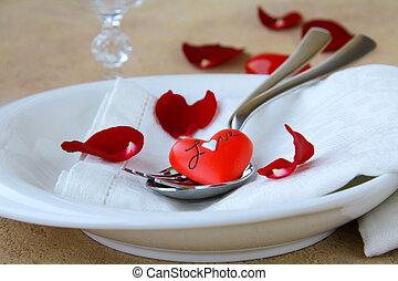 montaggio tavola, romantico, rosa