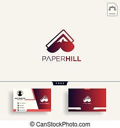 montagna, affari, creativo, carta, sagoma, logotipo, scheda