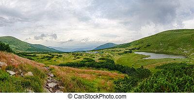 montagna, altopiano, montagne, carpathian, lago, valle