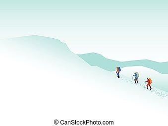 montagna, andando gita