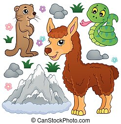 montagna, animali, tema, collezione, 1