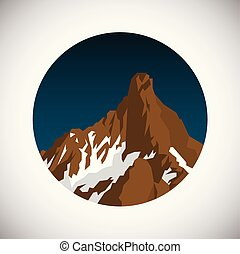 montagna, appartamento, nevoso, pendenza, illustrazione, fondo