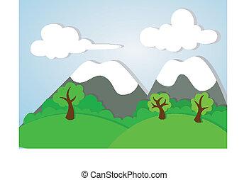 montagna, applique, paesaggio