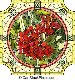 montagna, ash., bacche, rosso, mosaico