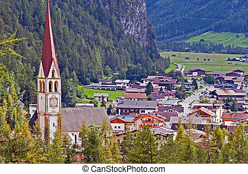 montagna, austria, otztal, tirol, villaggio