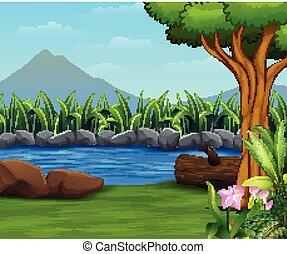 montagna, backround, fiume, lanscape, natura