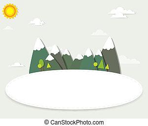 montagna, bandiera, intorno, paesaggio