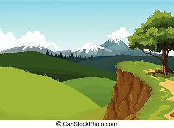 montagna, bellezza, fondo, scogliera