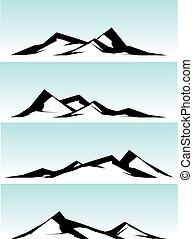 montagna, bianco, cresta, nero